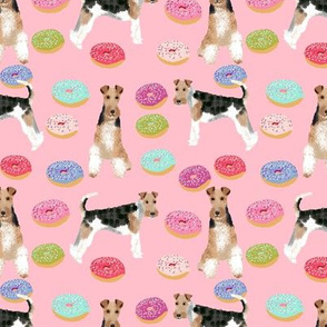 Wire Fox Terriers dog breed fabric donuts pink