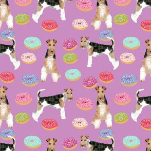 Wire Fox Terriers dog breed fabric donuts purple