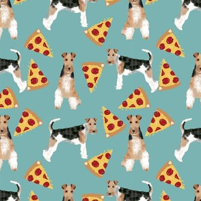 Wire Fox Terriers dog breed fabric pizza gulf blue