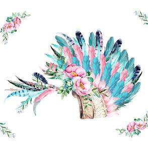"""21""""x18"""" Fat Quarter / Aqua & Pink Headdress / 4 to 1 Yard"""