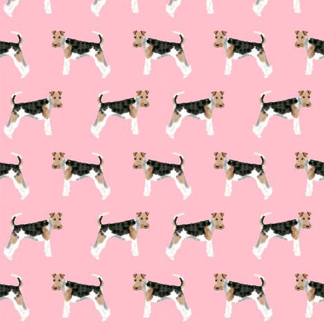 Wire Fox Terriers dog breed fabric simple blossom fabric by petfriendly on Spoonflower - custom fabric