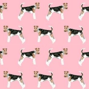Wire Fox Terriers dog breed fabric simple blossom