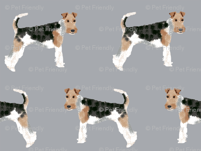 Wire Fox Terriers dog breed fabric simple grey