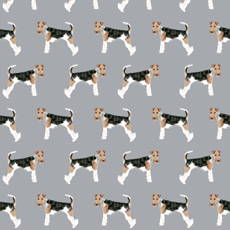 Wire Fox Terriers dog breed fabric simple grey fabric by petfriendly on Spoonflower - custom fabric