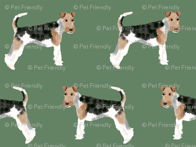 Wire Fox Terriers dog breed fabric medium green