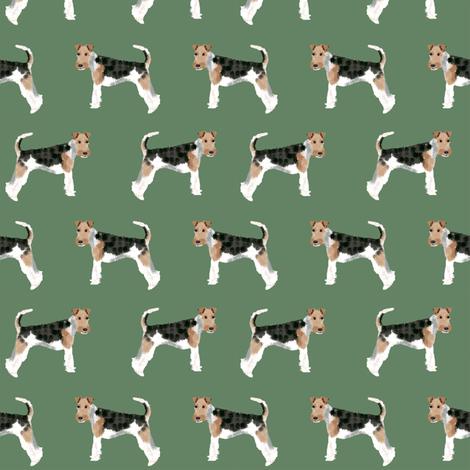 Wire Fox Terriers dog breed fabric medium green fabric by petfriendly on Spoonflower - custom fabric