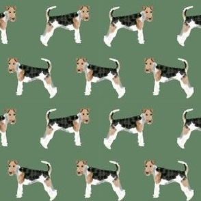 Wire Fox Terriers dog breed fabric medium green