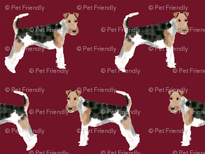 Wire Fox Terriers dog breed fabric simple ruby
