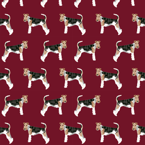 Wire Fox Terriers dog breed fabric simple ruby fabric by petfriendly on Spoonflower - custom fabric