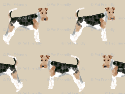 Wire Fox Terriers dog breed fabric simple