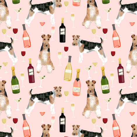 Wire Fox Terriers dog breed fabric wine pink fabric by petfriendly on Spoonflower - custom fabric