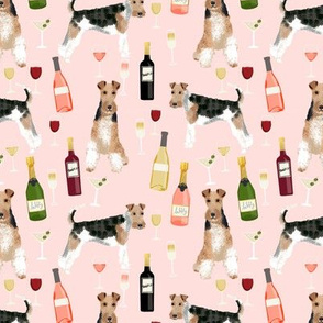 Wire Fox Terriers dog breed fabric wine pink