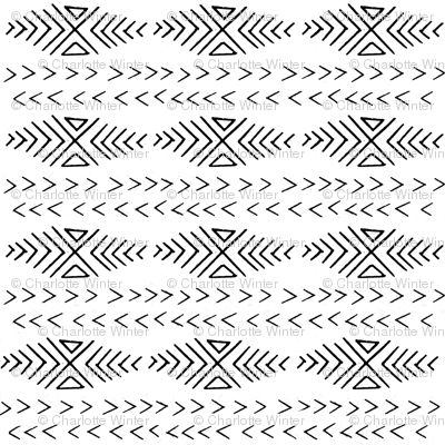 mudcloth inspired fabrics - black and white fabric hand drawn print