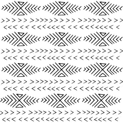 mudcloth inspired fabrics - black and white fabric hand drawn print  fabric by charlottewinter on Spoonflower - custom fabric