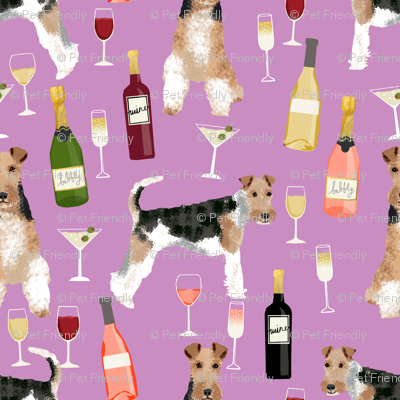 Wire Fox Terriers dog breed fabric wine purple