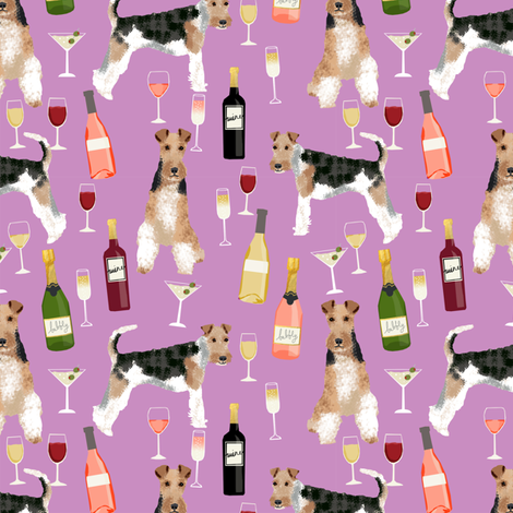 Wire Fox Terriers dog breed fabric wine purple fabric by petfriendly on Spoonflower - custom fabric