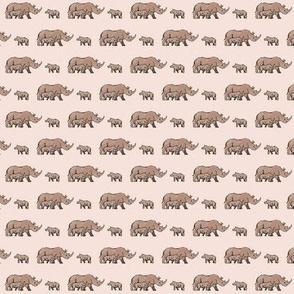 Rhino Family Pale Pink