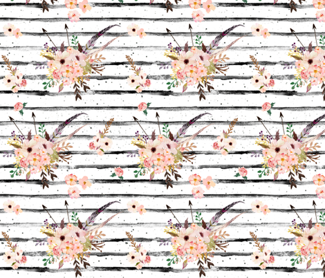 "8"" Lose Yourself Stripes with Boho Pink   Floral Print fabric by shopcabin on Spoonflower - custom fabric"
