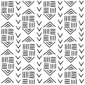 mudcloth inspired fabrics - black and white fabric hand drawn print