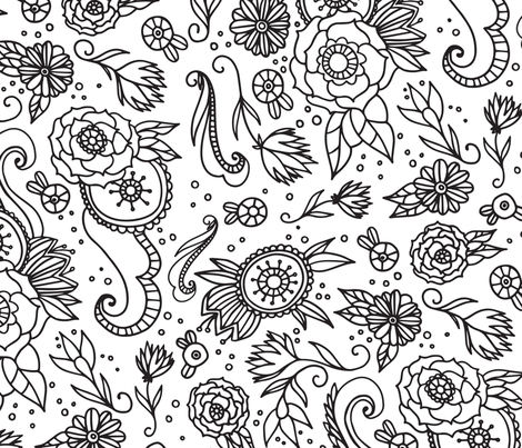 Coloring Book Floral fabric by printablecrush on Spoonflower - custom fabric