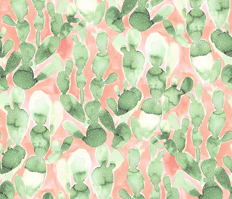 Paddle Cactus Pale Green Blush fabric by mjmstudio on Spoonflower - custom fabric