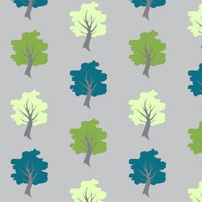 Sweet Trees - Greenery, Teal, Light Green on Grey