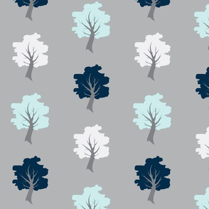 Sweet Trees - Navy, Whit, Aqua on Grey