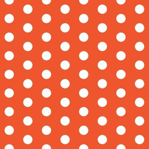White polka dots on flame hot orange by Su_G