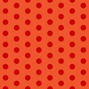 Red polka dots on flame hot orange by Su_G