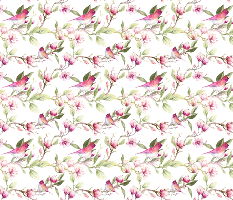 Sweet Magnolia fabric by jilbert on Spoonflower - custom fabric
