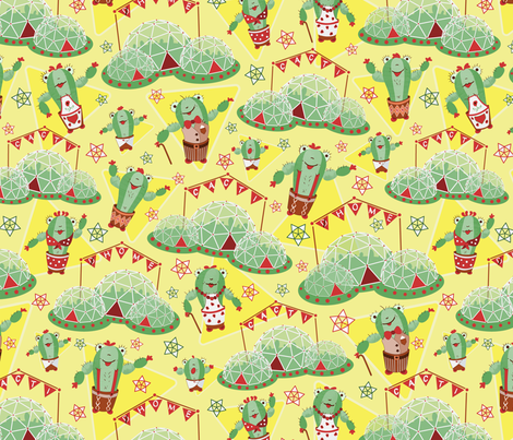Cacti Home Domes fabric by lauraflorencedesign on Spoonflower - custom fabric