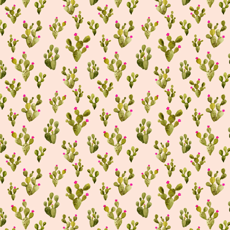 Mini Prickly Pear Blush with Pink Flowers fabric by mintpeony on Spoonflower - custom fabric