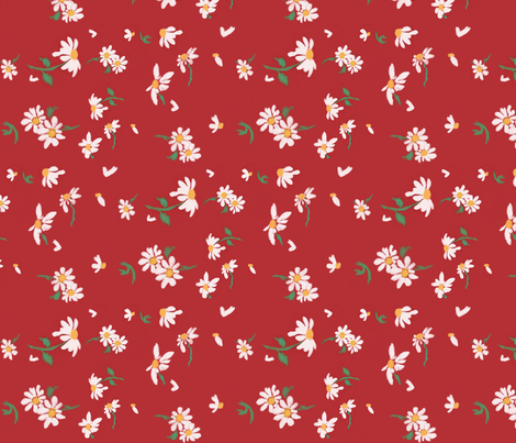 White Daisies On Red fabric by anjuliedahlin on Spoonflower - custom fabric