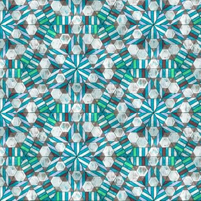 Peppermint Blue and Brown Geodesic