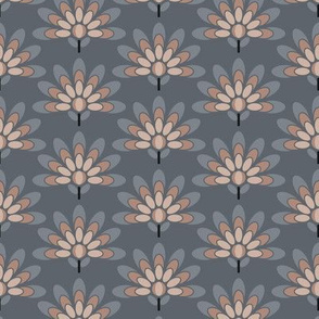 Peacock Flowers in Grays and Neutrals