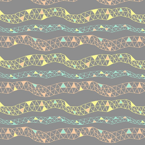 Geodesic Stripe in Yellow, Coral and Mint on Grey
