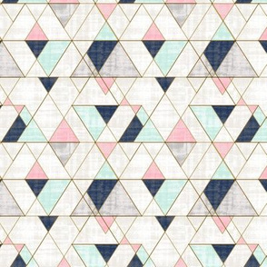 Mod Triangles S - Navy Mint Pink