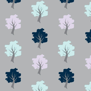 Sweet Trees - navy, lilac and Aqua on grey