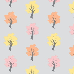 Sweet Trees - Cotton Candy pink, yellow and peach on gray