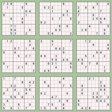 Sudoku - Sage fabric by siya on Spoonflower - custom fabric
