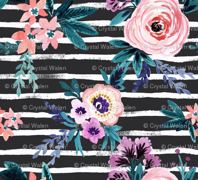 Victoria Floral Stripe Black