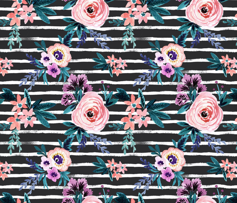 Victoria Floral Stripe Black fabric by crystal_walen on Spoonflower - custom fabric