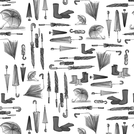 Monochrome Wellies (rubber boots) & Umbrellas  fabric by pinmintprint on Spoonflower - custom fabric