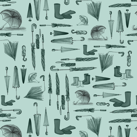 Wellies and Umbrellas Aqua fabric by pinmintprint on Spoonflower - custom fabric