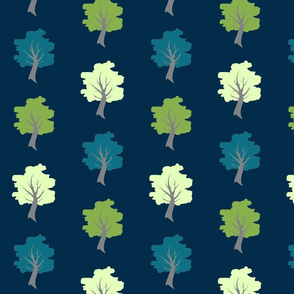 Sweet Trees - Greenery Pantone, teal, and pale green on navy