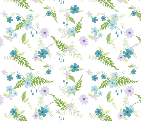 Spring Floral - Purple and Blue Boho Bouquet-ch fabric by sugarpinedesign on Spoonflower - custom fabric