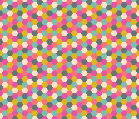 Multicolor honeycombs fabric by olgart on Spoonflower - custom fabric