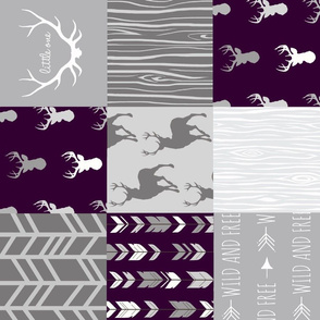 rotated- Wholecloth Quilt - Patchwork Deer in Eggplant and Grey