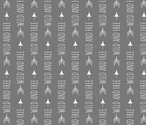 wild and Free - rotated - white on dark grey fabric by sugarpinedesign on Spoonflower - custom fabric