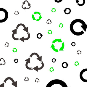 pattern with recycle symbols.